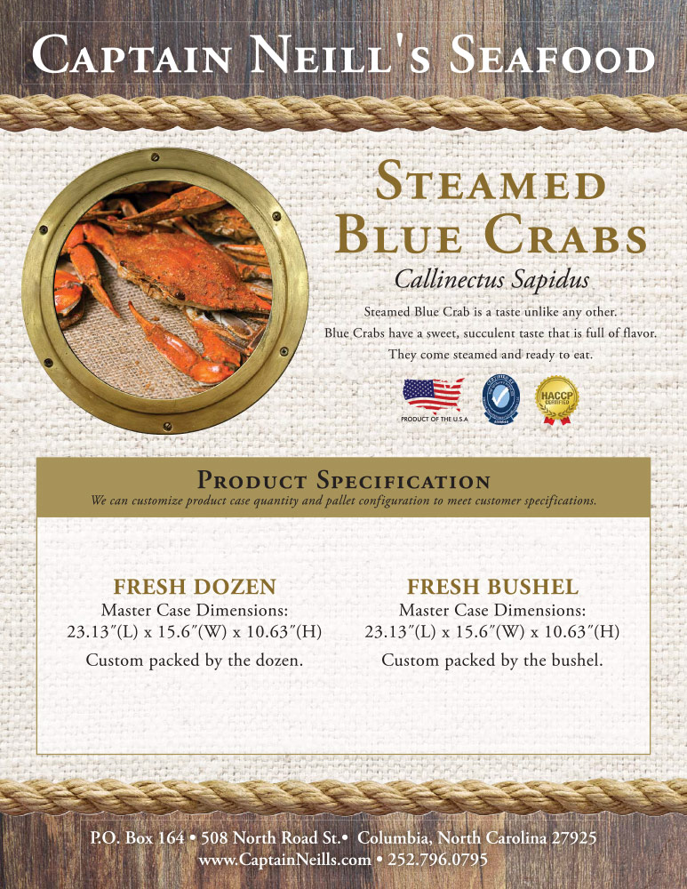 Captain Neill's Seafood - Steamed Blue Crabs
